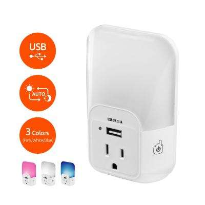Automatic Light-Sensing and Color Changing Plug-in LED Night Light with integrated USB Port and Outlet