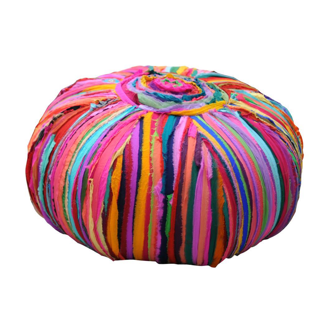 Bali Multi-Color Cotton Pouf Ottoman