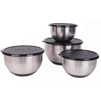 Geminis 8-Piece 18/10 Stainless Steel Mixing Bowl Set with Black Lids