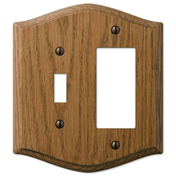 Country 2 Gang 1-Toggle and 1-Rocker Wood Wall Plate - Medium Oak