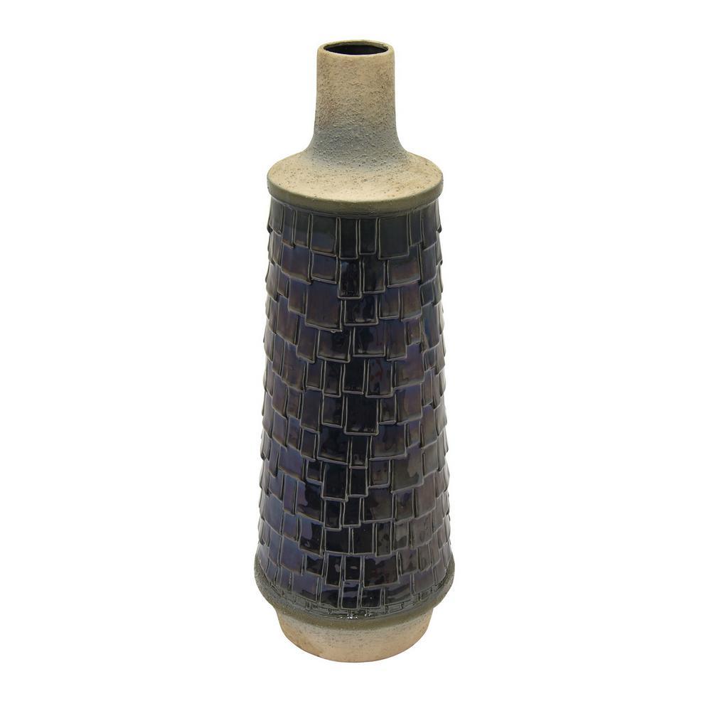 23 in. Blue Ceramic Vase