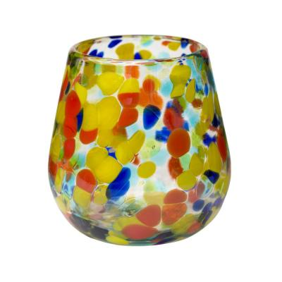 Carnaval 6-Piece Multicolor Glass Stemless Wine Drinkware Set with 16 oz. Capacity