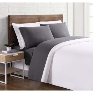 Flax Linen 4-Piece Charcoal Solid 300 Thread Count King Sheet Set