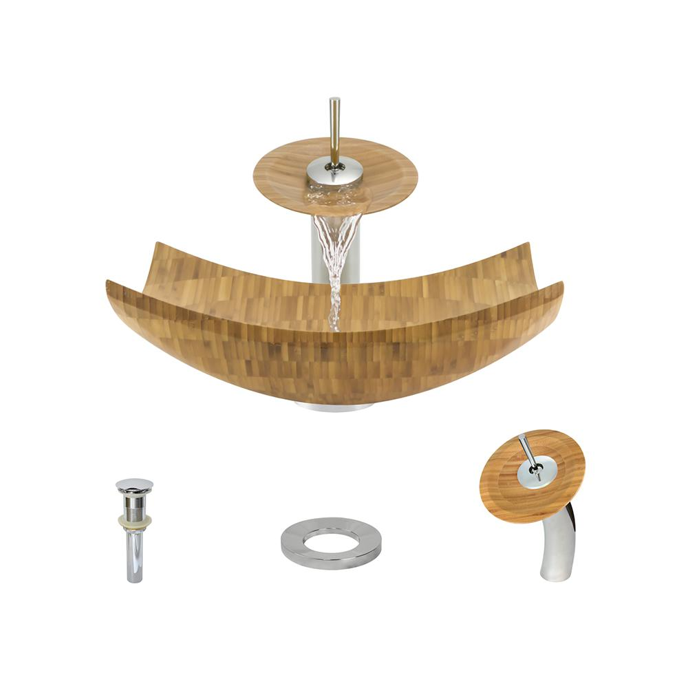 MR Direct Vessel Sink in Bamboo with Waterfall Faucet and Pop-Up ...