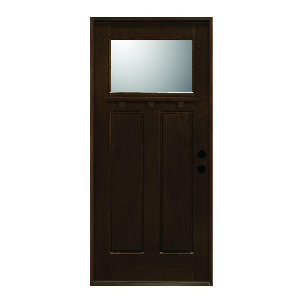 Main Door 36 in. x 80 in. Craftsman Collection 1 Lite Prefinished Antique Mahogany Type Solid Stained Wood Prehung Front Door
