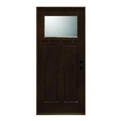 36 in. x 80 in. Craftsman Collection 1 Lite Prefinished Antique Mahogany Type Solid Stained Wood Prehung Front Door