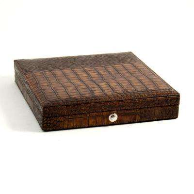 9 in. D x 1.75 in. H x 9 in. W Cedar Cigar Humidor in Brown Leather