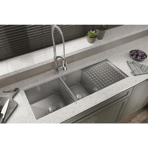 Elkay Crosstown Undermount Stainless Steel 47 In Double Bowl Kitchen Sink With Drain Board Efu471810dbt The Home Depot