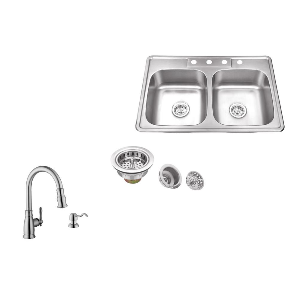 IPT Sink Company Drop-In 33 in. 4-Hole Stainless Steel Double Bowl ...