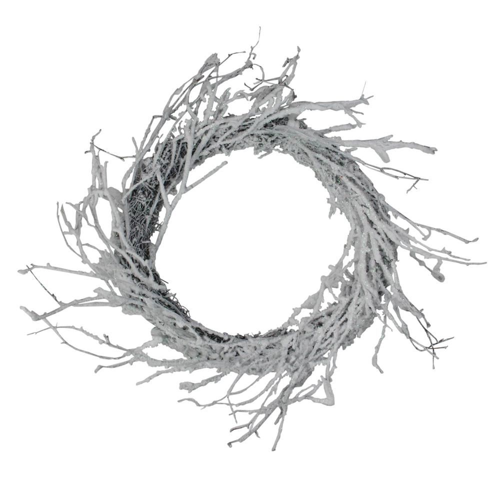 Northlight 24 in. Unlit Snow Flocked and Iridescent Glitter Twig Artificial Christmas Wreath