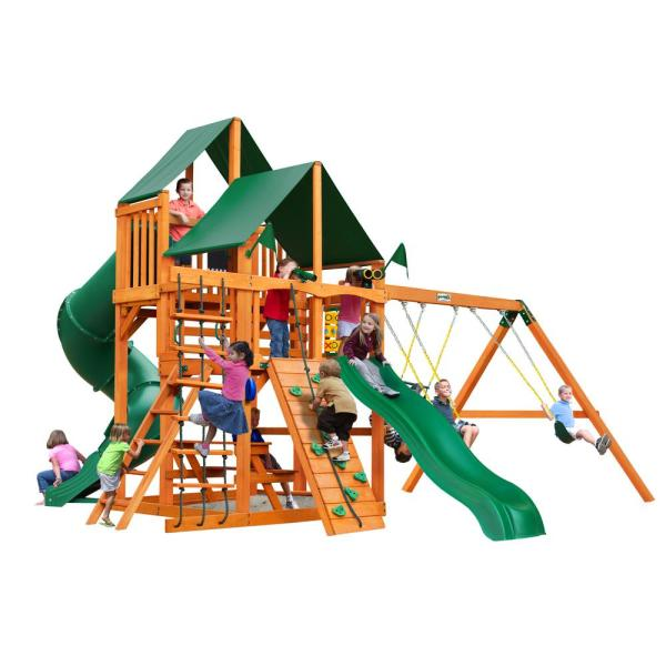 Great Skye I Wooden Swing Set with Sunbrella Canvas Canopy and 2 Slides