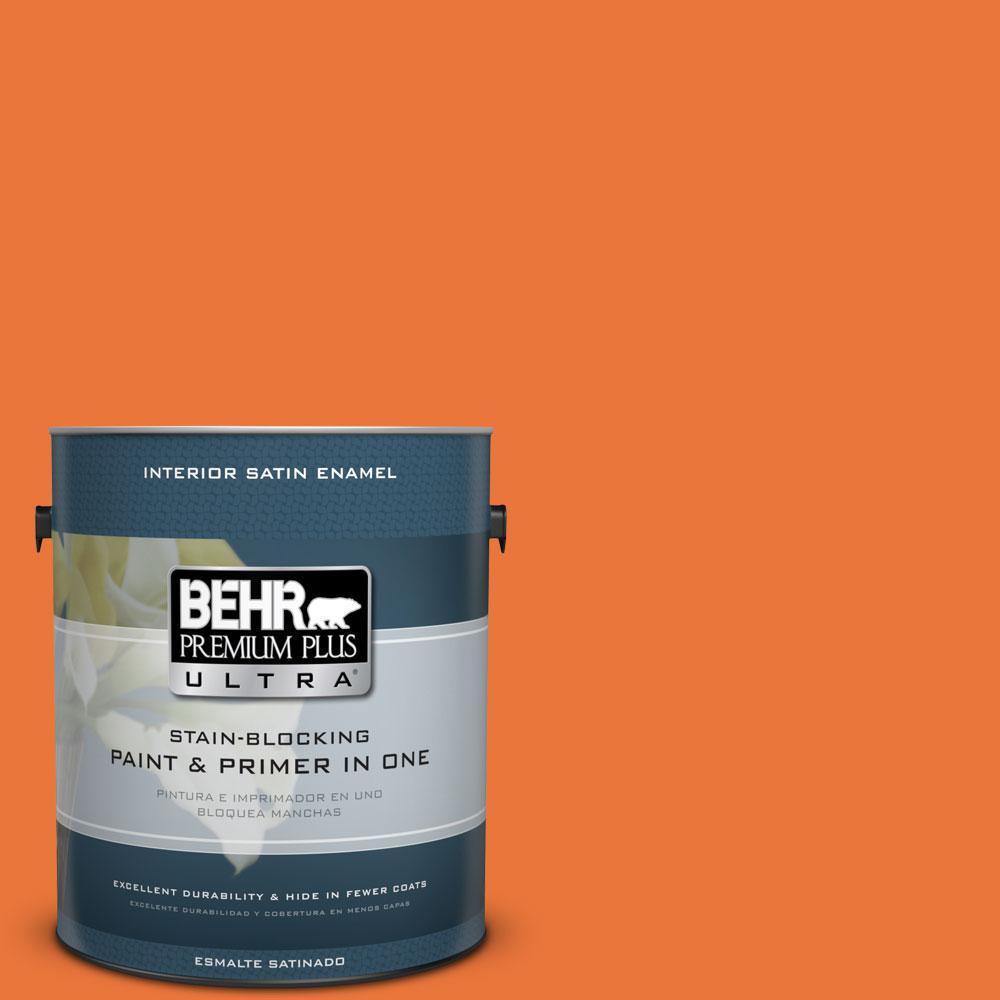 BEHR Premium Plus Ultra Home Decorators Collection 1-gal. #HDC-MD-27 Tart Orange Satin Enamel Interior Paint