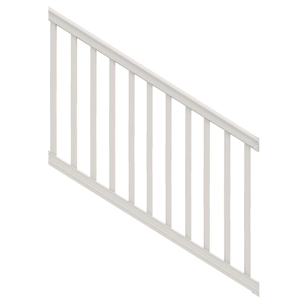 Veranda premier 6 ft x 40 in white vinyl stair rail kit with square balusters 73012473 the - Vinyl railing reviews ...