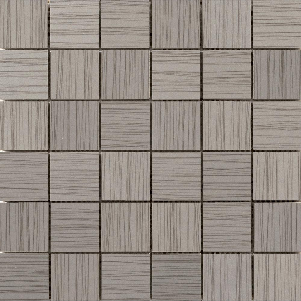 Emser Thread Gray 11.81 in. x 11.81 in. x 9mm Porcelain Mesh-Mounted Mosaic Tile