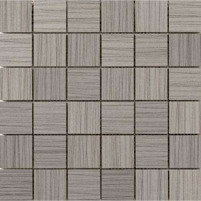 Thread Gray 11.81 in. x 11.81 in. x 9mm Porcelain Mesh-Mounted Mosaic Tile (0.97 sq. ft.)