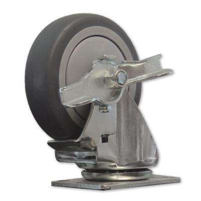 4 in. Rubber Swivel Caster With Brake