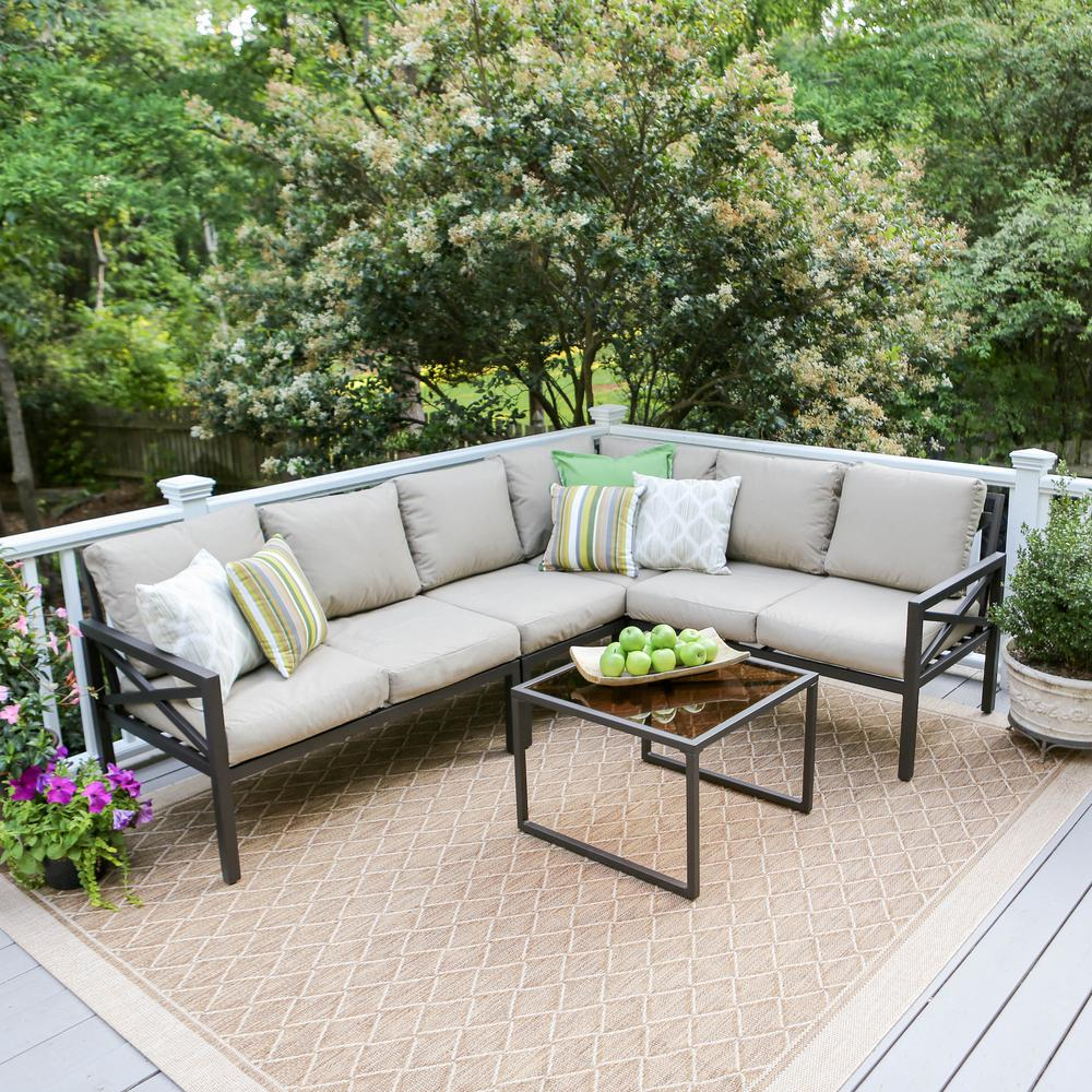 leisure made blakely black 5 piece aluminum outdoor sectional with tan cushions 502987 tan the. Black Bedroom Furniture Sets. Home Design Ideas