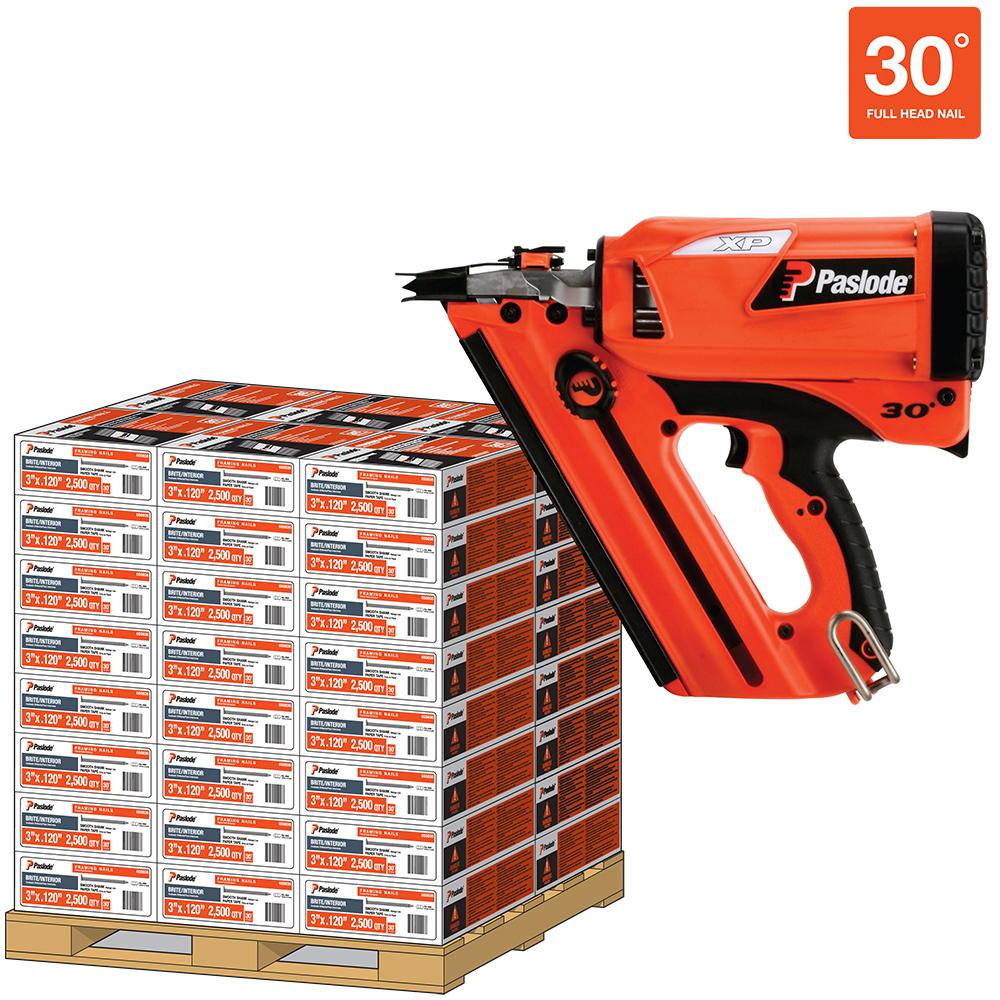 Paslode 3 in. x 0.120-Gauge 30-Degree Brite Smooth Paper-Taped Framing Nails Pallet with Cordless XP Nailer