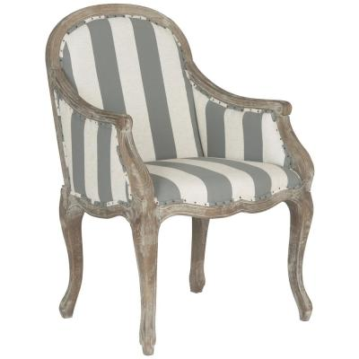 Esther Gray and Off-White Linen Arm Chair