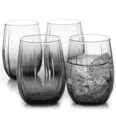 Lotus 4-Piece 12.75 oz. Cooler Glass Set in Grey