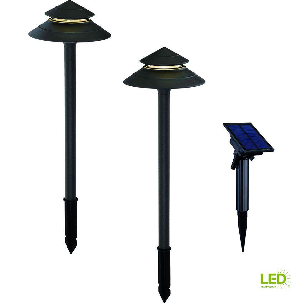 Hampton Bay Solar Black Outdoor Integrated Led 2 Tier Landscape Path Light With Remote Panel
