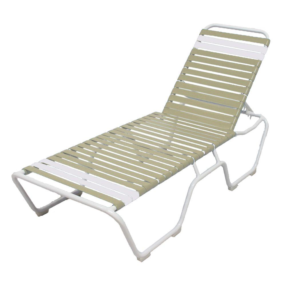 Marco Island White Commercial Grade Aluminum Patio Chaise Lounge with Putty