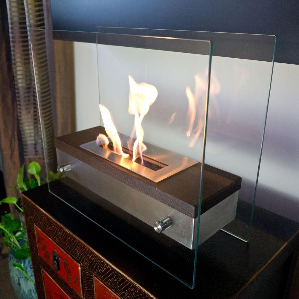 Nu Flame Foreste Ardore 15 7 In Tabletop Decorative Bio Ethanol Fireplace Walnut