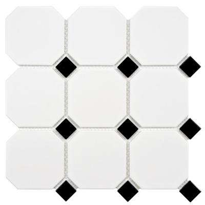 Metro Super Octagon Matte White with Glossy Black Dot 11-5/8x11-5/8 in. x 5 mm Porcelain Mosaic Tile (9.6 sq. ft./case)