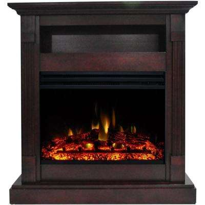Sienna 34 in. Electric Fireplace Heater in Mahogany with Mantel, Enhanced Log Display and Remote Control