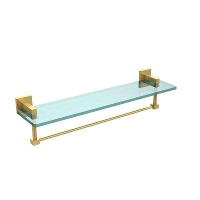 Montero 22 in. L  x 5-1/4 in. H  x 5-3/4 in. W Clear Glass Bathroom Shelf with Towel Bar in Unlacquered Brass