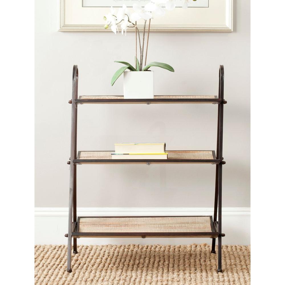 Oswald 3-Shelf Natural Color with Black Brushed Decorative Etagere