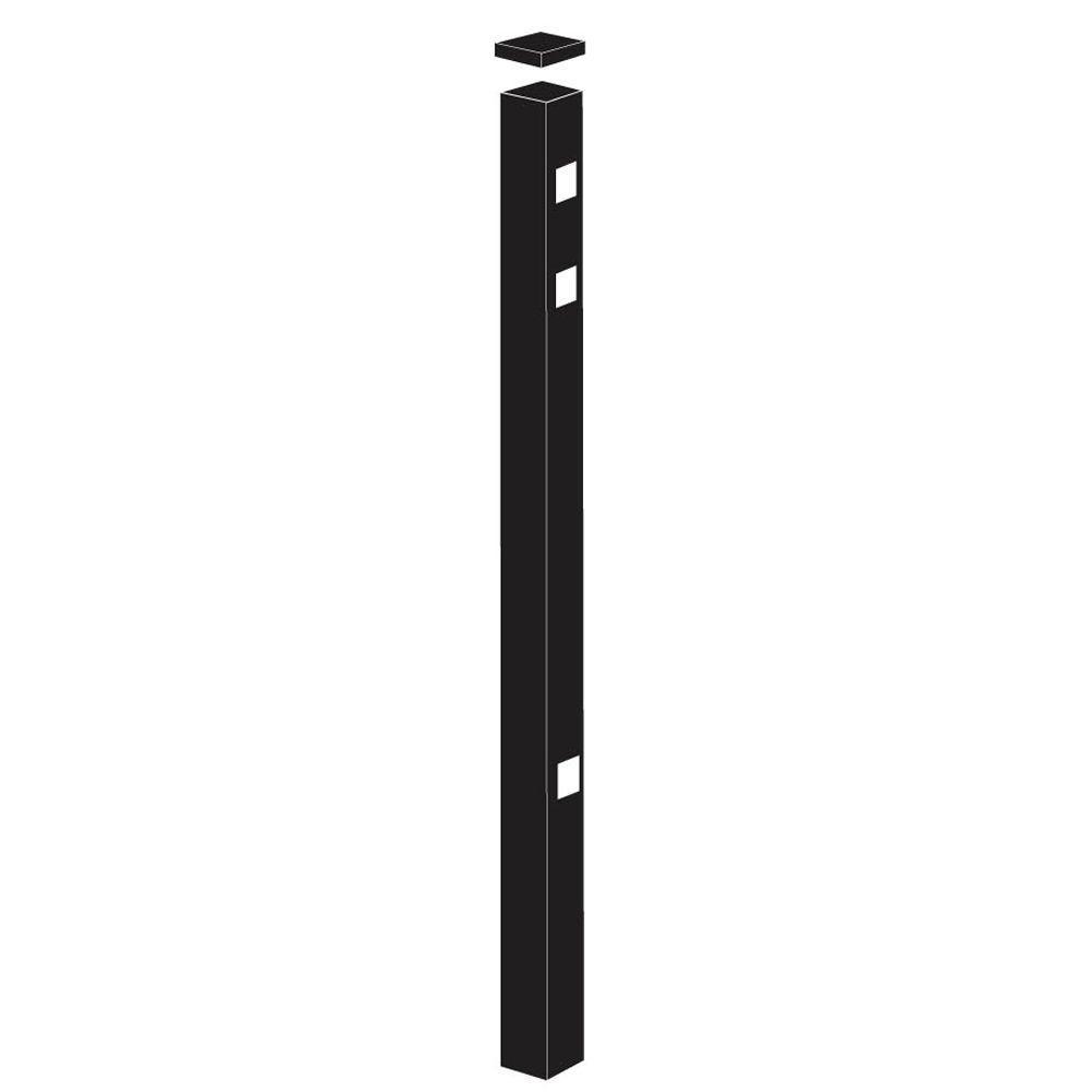 TuffBilt Cascade/New Hope Standard-Duty 2 in. x 2 in. x 7-3/8 ft. Black Aluminum Fence End Post