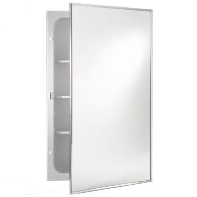 Styleline 16 in. W x 20 in. H x 3.75 in. D Recessed Medicine Cabinet in Stainless Steel