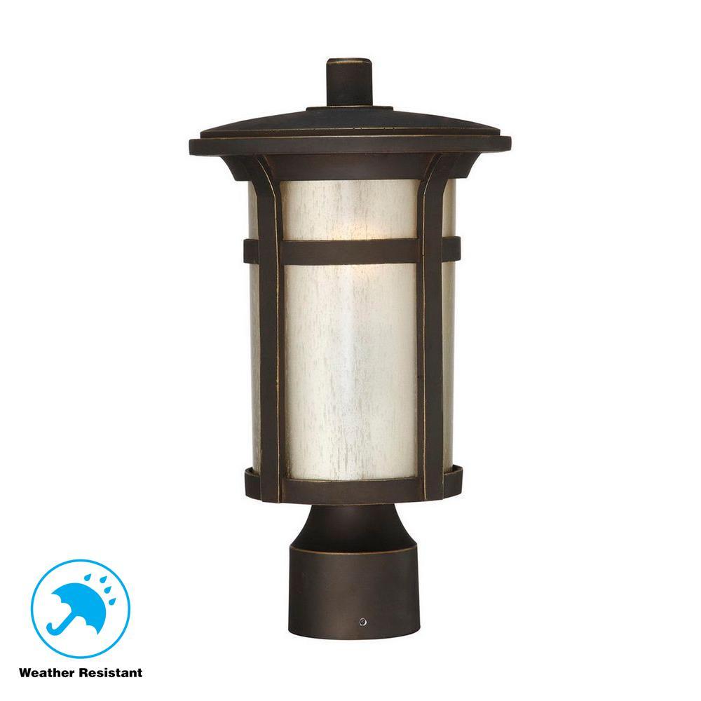 Round Craftsman 1-Light Outdoor Dark Rubbed Bronze Post Mount Lantern