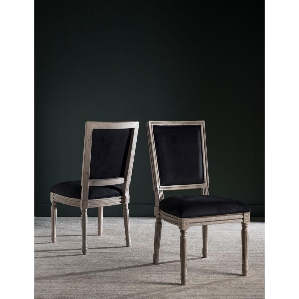 Buchanan rectangular velvet chair in black and rustic grey finish 2 pack