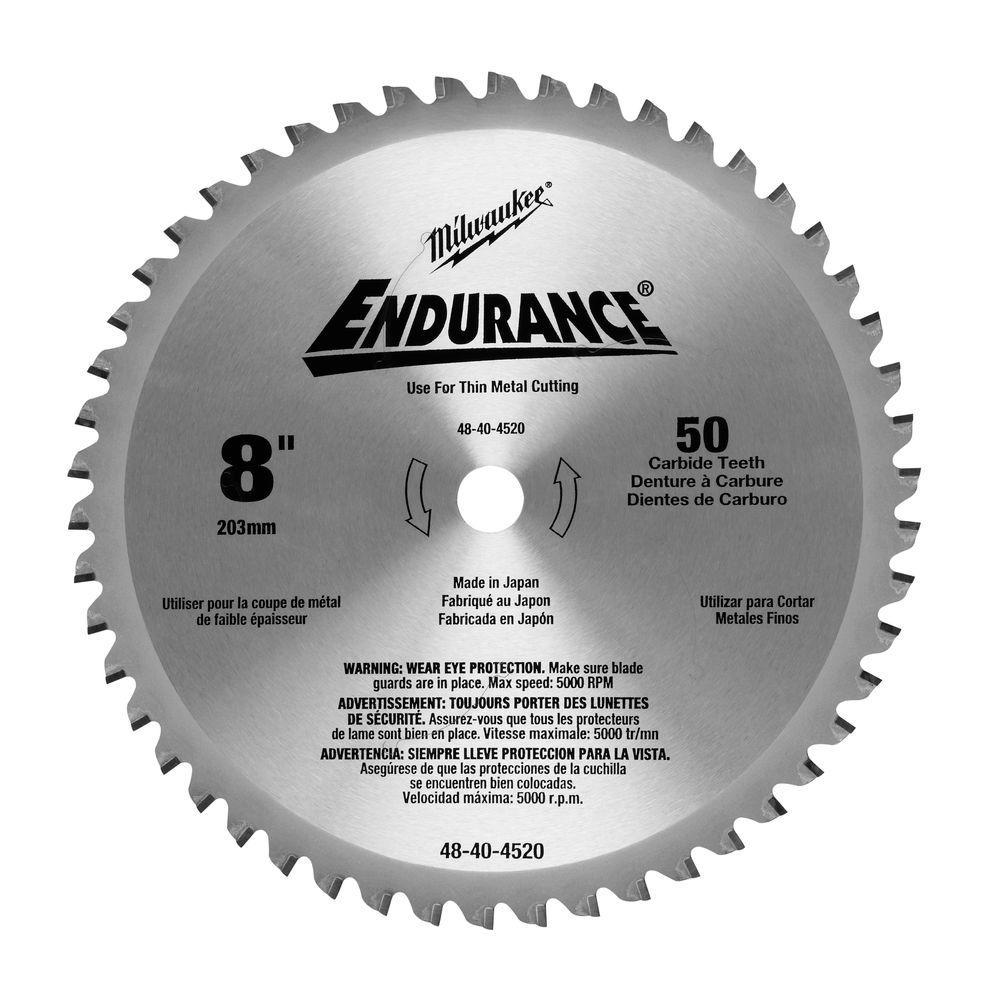8 in. x 50 Carbide Teeth Metal Cutting Circular Saw Blade