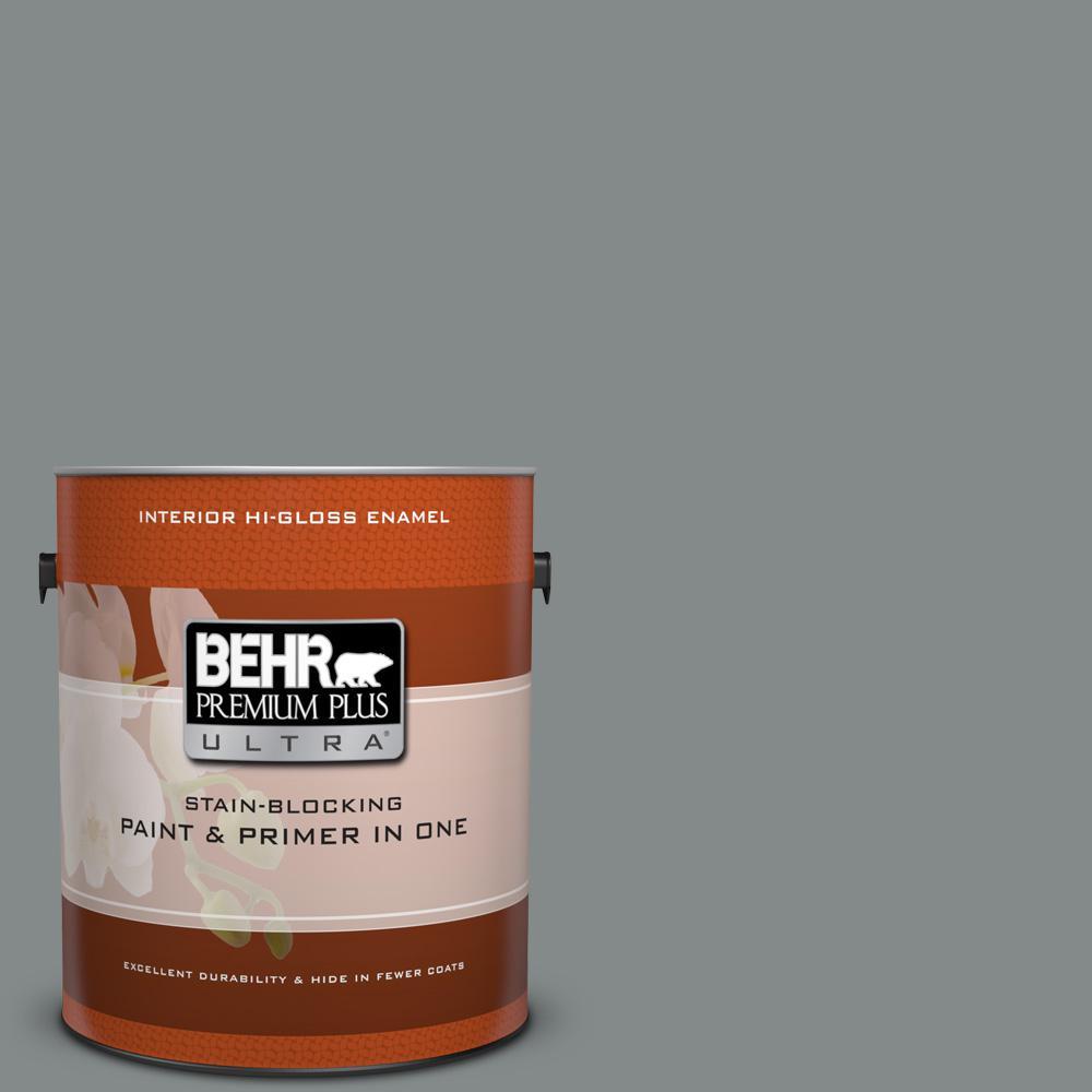 1 gal. #N460-5 Slate Rock Hi-Gloss Enamel Interior Paint