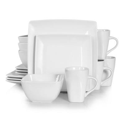 Series Soho Porcelain Square Ivory White 16-Piece Dinnerware Sets with Dessert Plate Bowls Mugs(Service Set for 4)