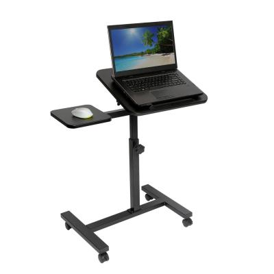 "Tilting Sit-Stand Height Adjustable Mobile Laptop Desk Cart with Mouse Pad Table, from 27.5"" to 40"" H, Black"