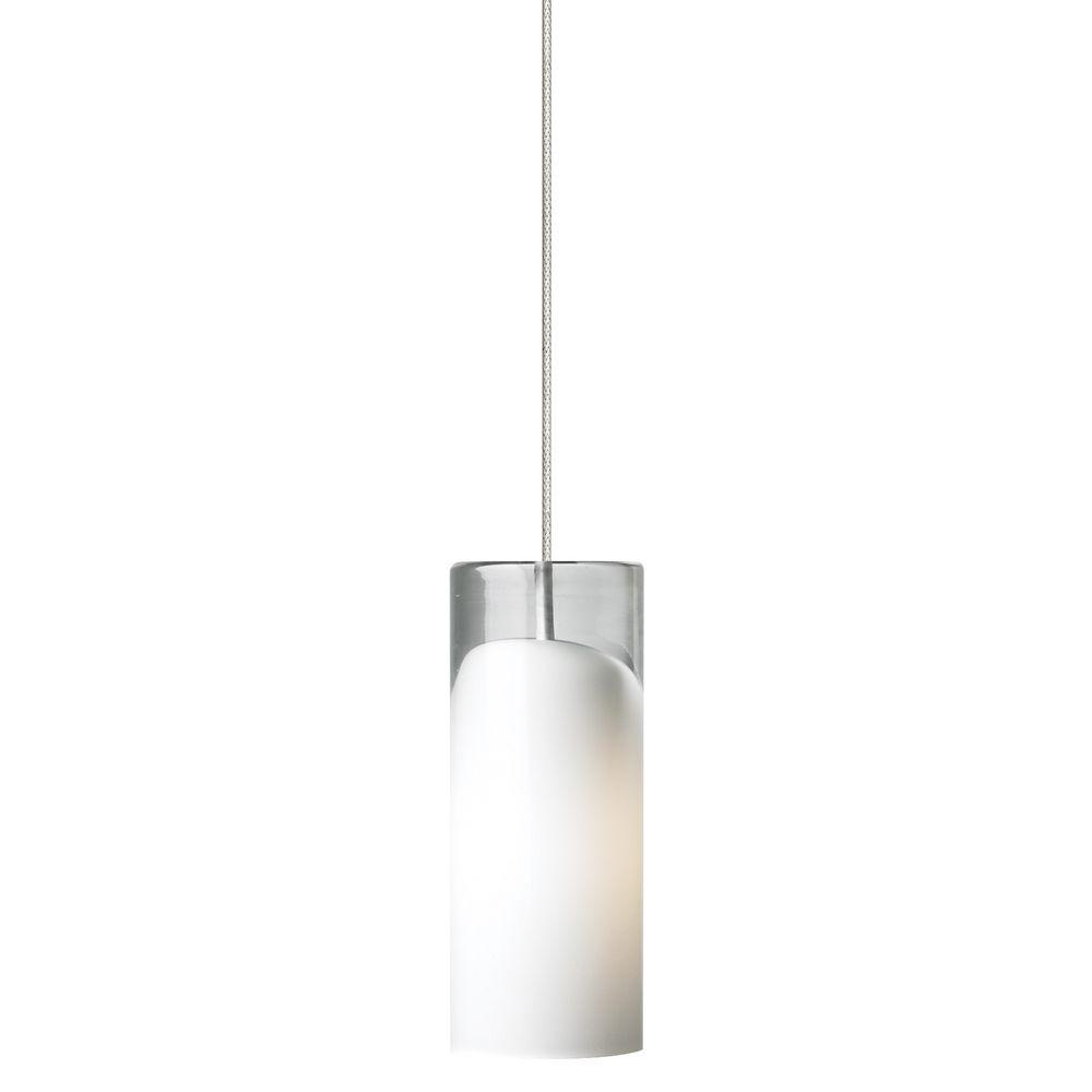 Horizon 1-Light Satin Nickel LED Mini Pendant with Opal Shade