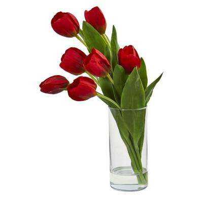 Indoor Tulip Artificial Arrangement in Cylinder Vase