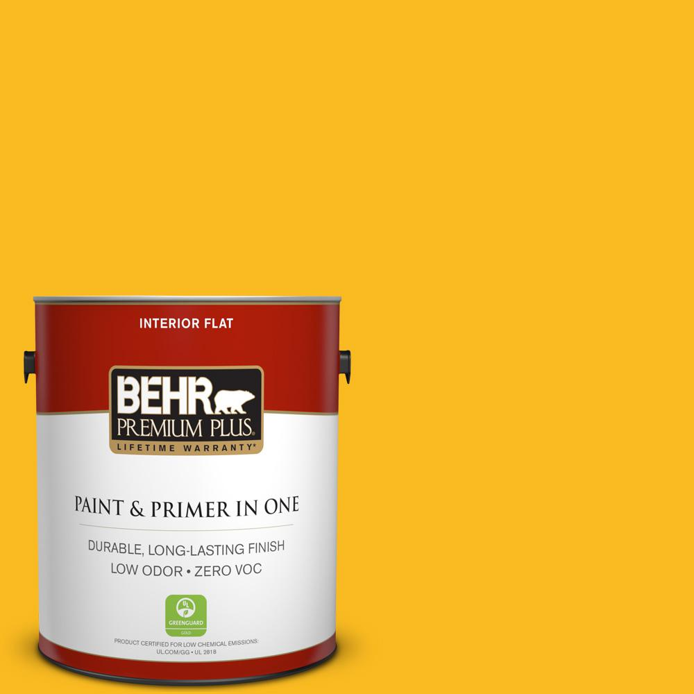 1 gal. #HDC-MD-02A Yellow Groove Zero VOC Flat Interior Paint