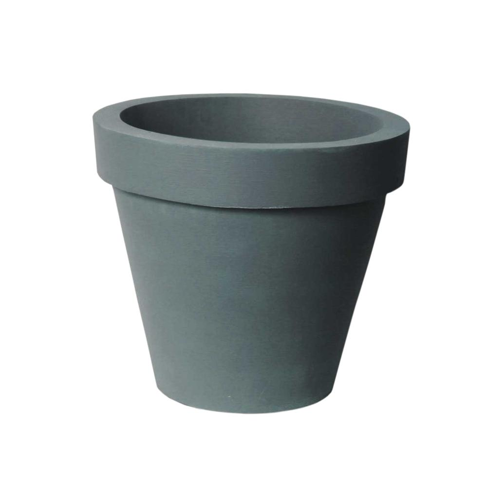 Classico 16 in. D x 14 in. Self-Watering CharcoalStone Plastic Planter