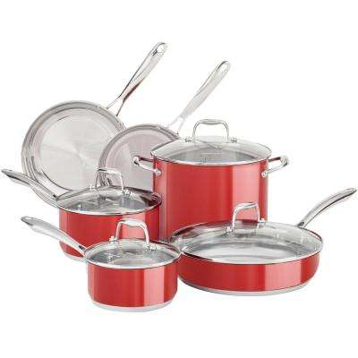 10-Piece Stainless Steel Cookware Set in Empire Red