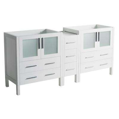 83 in. Torino Modern Double Bathroom Vanity Cabinet in White