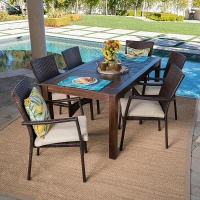 Emmy 7-Piece Wood and Wicker Outdoor Dining Set with Crme Cushion