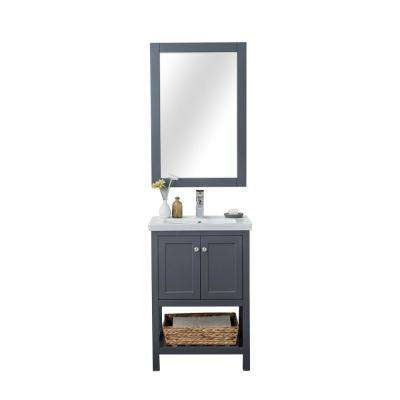 Vineland 24 in. W x 18.25 in. D x 34.75 in. H Vanity in Gray with Porcelain Top in White with White Basin