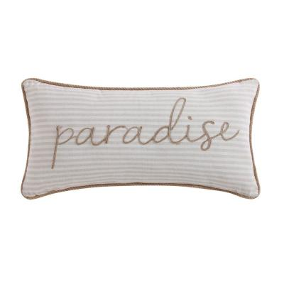 Tropical Plantation Ivory and Tan Striped Hypoallergenic Down Alternative 18 in. x 16 in. Throw Pillow