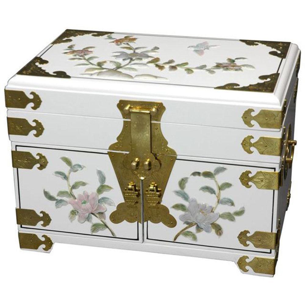 Oriental Furniture Daisi Lacquer Jewelry Box in White