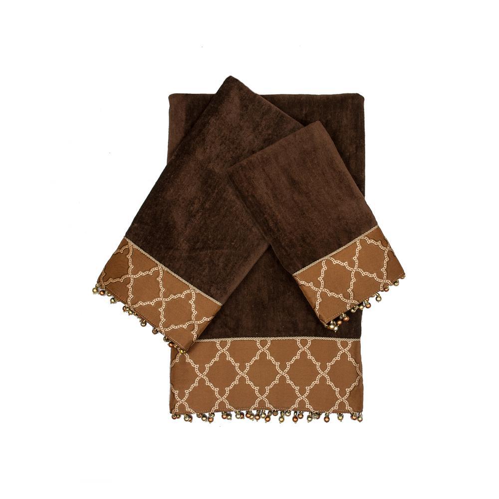 Somerset Brown Decorative Embellished Towel Set (3-Piece)